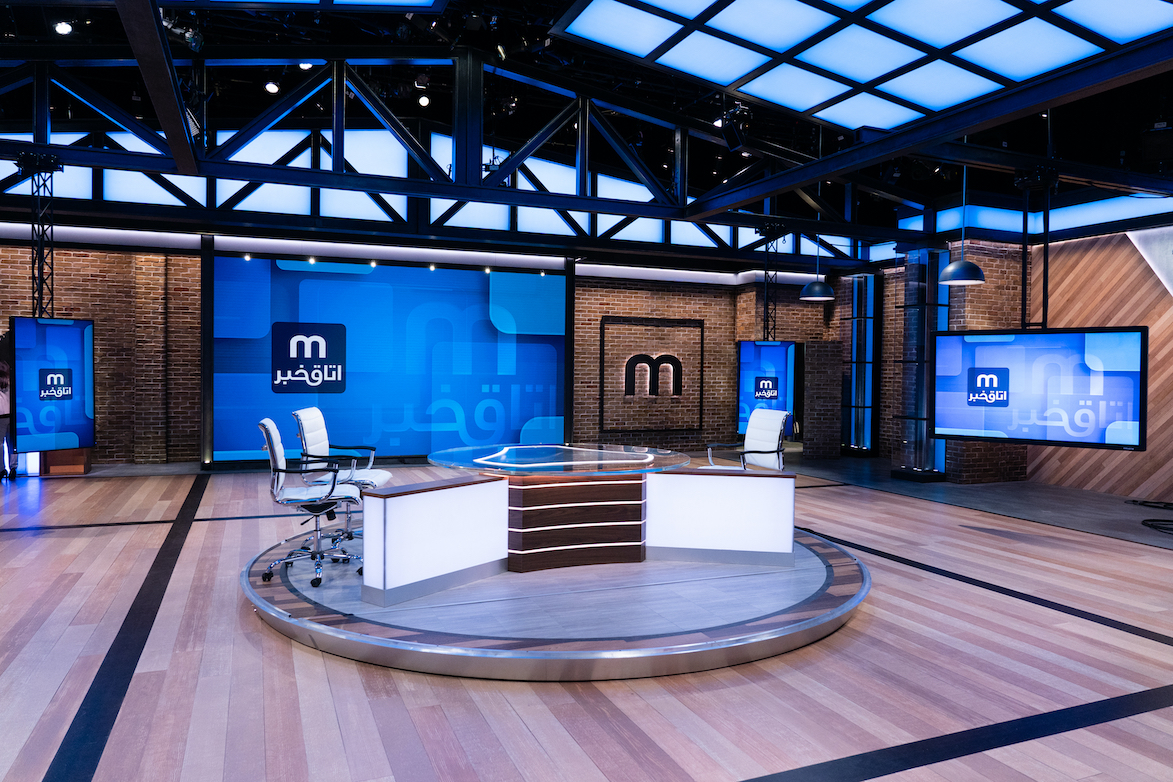 A broadcast studio design that's centred around digital displays